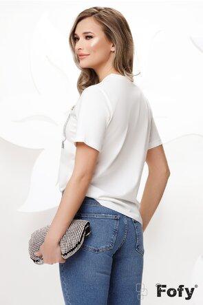 Tricou de dama din bumbac cu paiete argintii