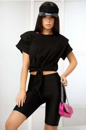 Tricou negru cu umeri buretati innodat in fata