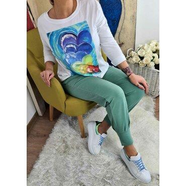 Bluza alba cu imprimeu color Sonia