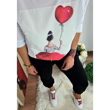 Bluza alba sport casual Love