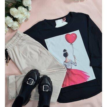 Bluza neagra sport casual Love