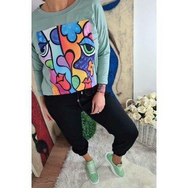 Bluza verde cu imprimeu color Samira