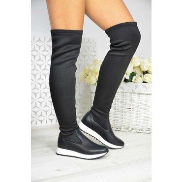 Cizme peste genunchi negre din piele naturala si neopren Karmen