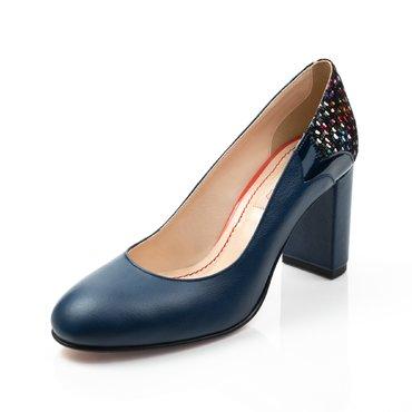 Pantofi albastru indigo cu imprimeu multicolor Zelma