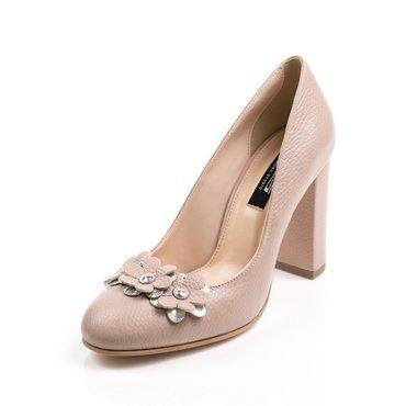 Pantofi bej din piele naturala Joli cu flori