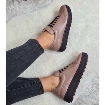 Pantofi casual din piele naturala bej roze Alesia