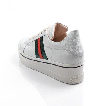Pantofi casual piele alba cu verde Alesia