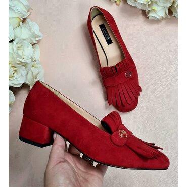 Pantofi de dama rosii cu franjuri Nikol