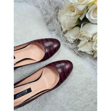 Pantofi din piele naturala bordo Mara
