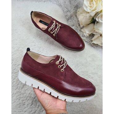Pantofi din piele naturala bordo Young Smart