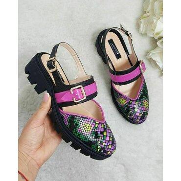 Pantofi din piele naturala fuxia Fly