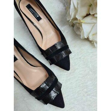 Pantofi din piele naturala neagra Rebeca