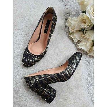 Pantofi din piele naturala negru cu auriu Mara