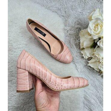 Pantofi din piele naturala roz Mara
