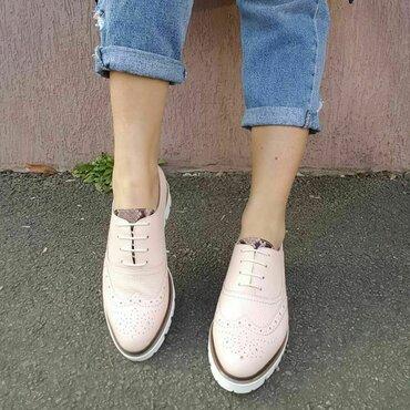 Pantofi din piele naturala roz Young Smart