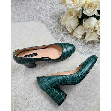 Pantofi din piele naturala verde Mara