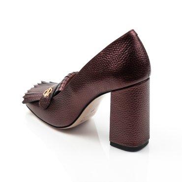 Pantofi mov sidefat din piele naturala Ameli cu franjuri si accesoriu