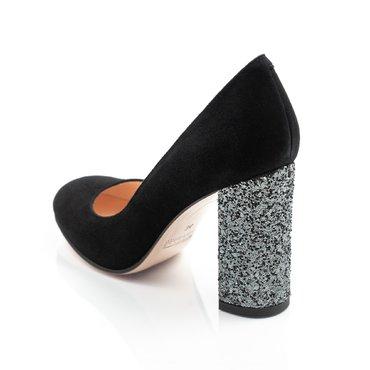 Pantofi negrii din piele intoarsa Joli cu toc glitter gri