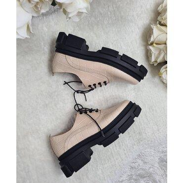 Pantofi oxford din piele naturala bej Kelly