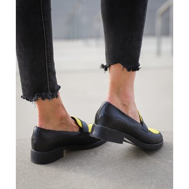 Pantofi oxford din piele naturala neagra cu galben Lera
