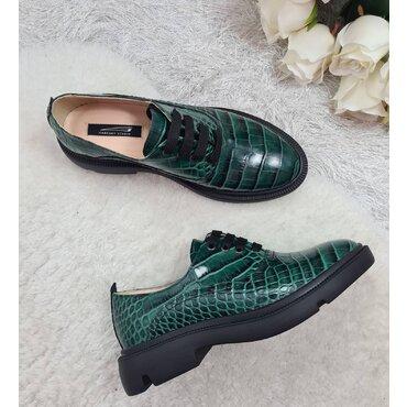 Pantofi oxford din piele naturala verde Lina