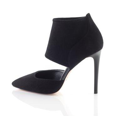 Pantofi piele intoarsa neagra Wow