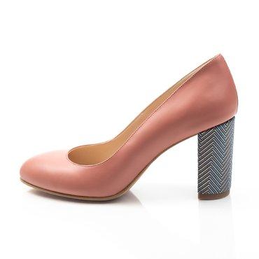 Pantofi somon din piele naturala Joli Confy cu imprimeu pe toc
