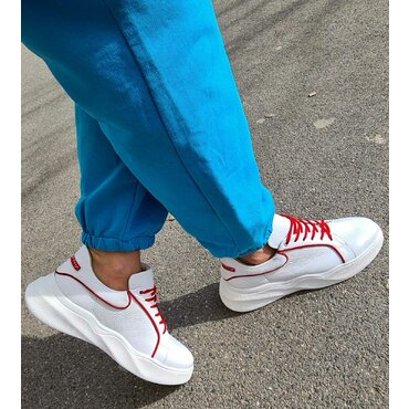 Pantofi sport din piele naturala alba Dalia