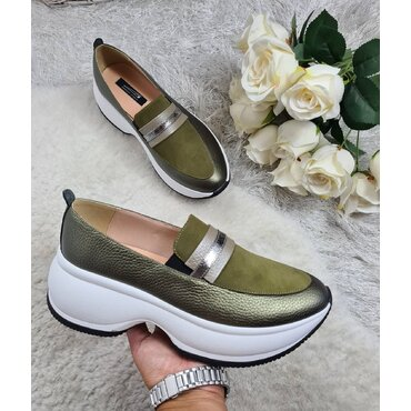 Pantofi sport din piele naturala verde Liv