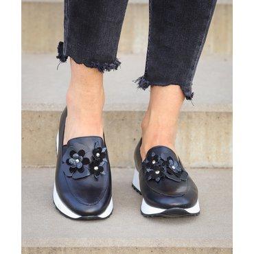 Pantofi sport negri Klara cu flori