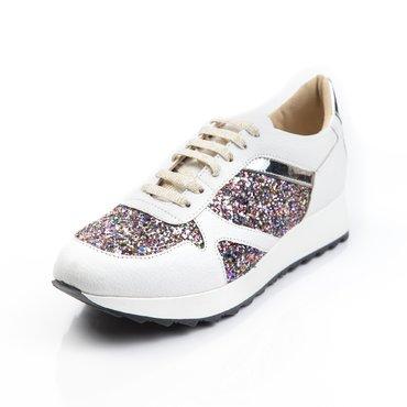 Pantofi sport piele alba cu glitter si laminat Basi