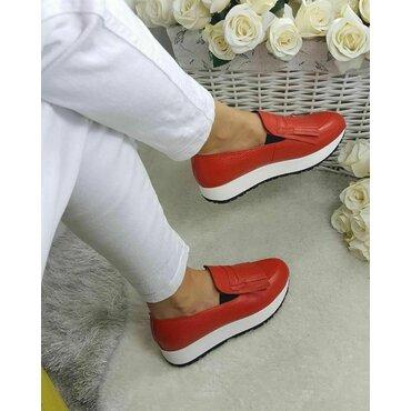 Pantofi sport piele rosie Klara cu franjuri