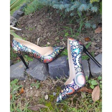 Pantofi stiletto din piele naturala imprimeu  Trend 2
