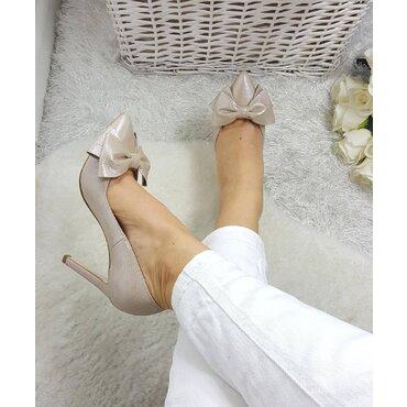Pantofi Stiletto Lady Bej Sidefat