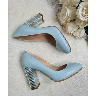 Pantofi turcoaz din piele naturala Joli