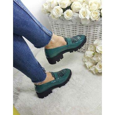 Pantofi verzi din piele naturala Lera