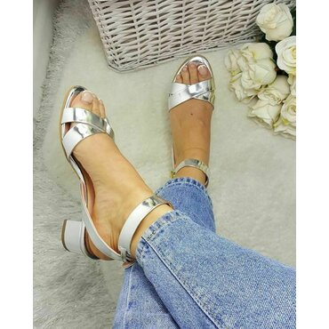 Sandale de dama piele argintie Sacha