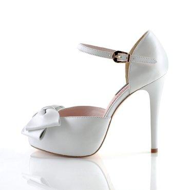 Sandale piele alba sidefata Elle