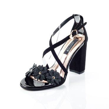 Sandale piele intoarsa neagra Best cu floricele
