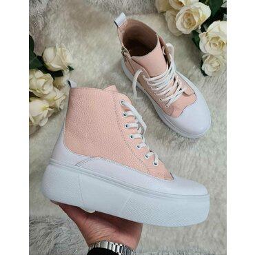 Sneakers de dama albi cu roz Anita