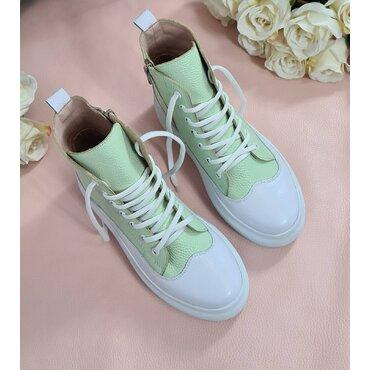 Sneakers de dama albi cu verde Anita