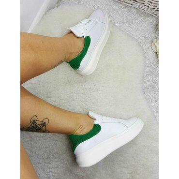 Sneakers din piele naturala alb cu verde Koli