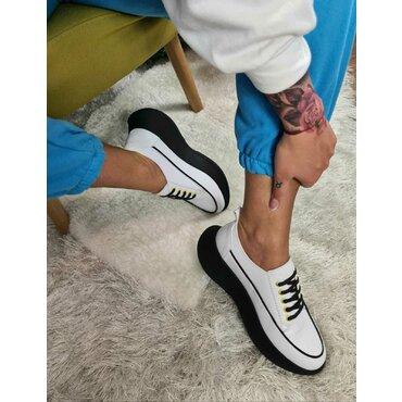 Sneakers din piele naturala alba Selena