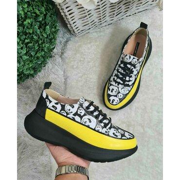 Sneakers din piele naturala galben cu negru Selena