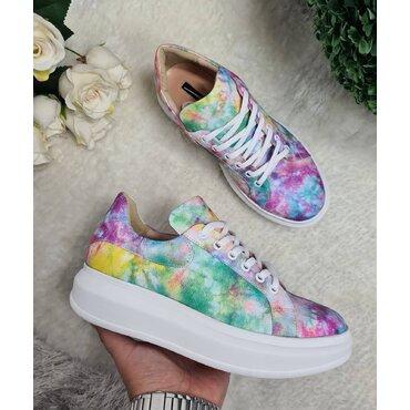 Sneakers din piele naturala imprimeu color Koli