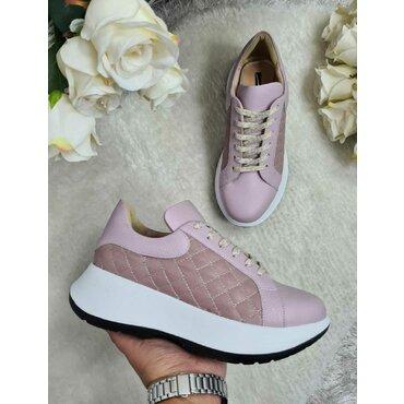 Sneakers din piele naturala lila Giuli