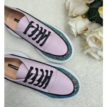 Sneakers din piele naturala lila Selena