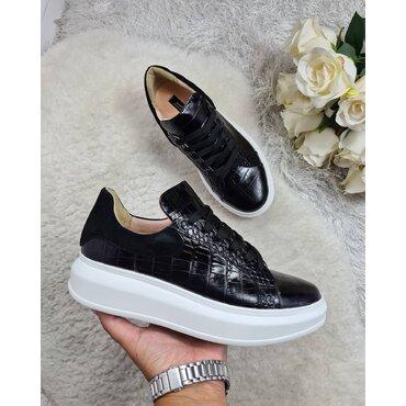 Sneakers din piele naturala neagra Koli