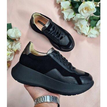Sneakers din piele naturala neagra Monik