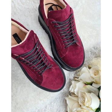 Sneakers platforma din piele naturala bordo Levi
